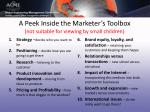 a peek inside the marketer s toolbox not suitable for viewing by small children
