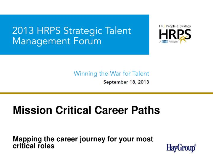 mission critical career paths n.