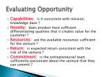 evaluating opportunity