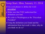 jump start mon january 13 2014