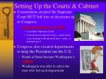 setting up the courts cabinet