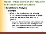 recent innovations in the valuation of fixed income securities3