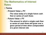 the mathematics of interest rates