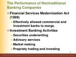 the performance of nontraditional banking companies2