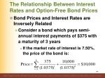 the relationship between interest rates and option free bond prices1