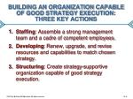 building an organization capable of good strategy execution three key actions
