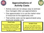 approximations of activity costs