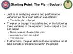 starting point the plan budget