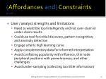 affordances and constraints cont