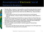 assumptions of electronic social network analysis
