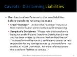 caveats disclaiming liabilities