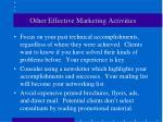 other effective marketing activities