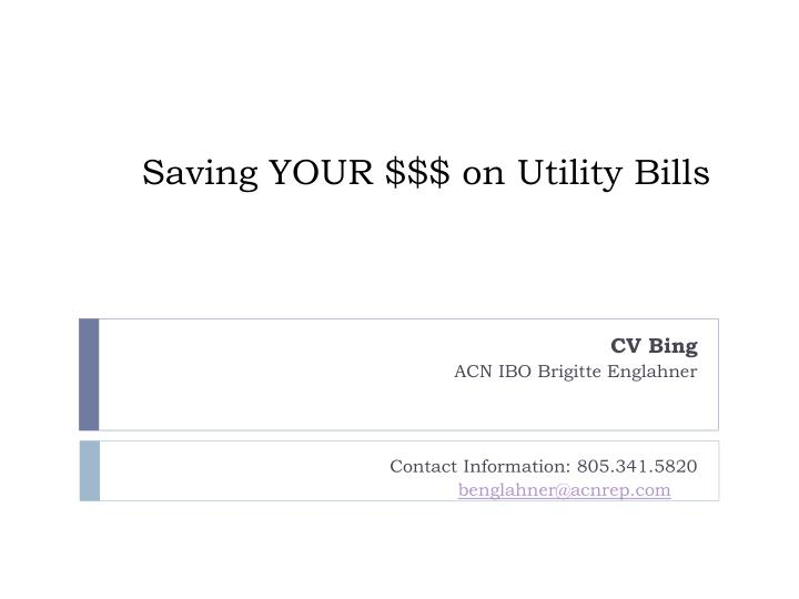 saving your on utility bills n.