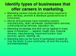 identify types of businesses that offer careers in marketing