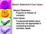 mission statement core values