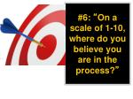 6 on a scale of 1 10 where do you believe you are in the process