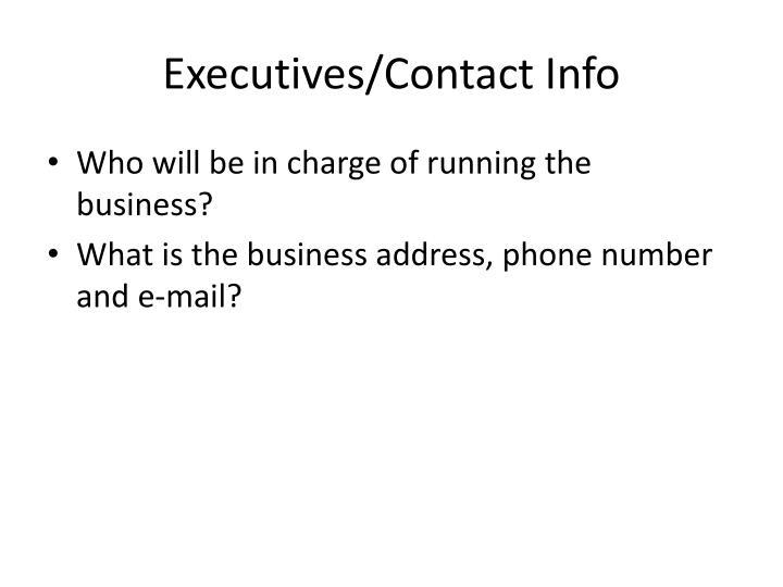 Executives/Contact Info