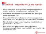 synthesis traditional fvcs and nutrition