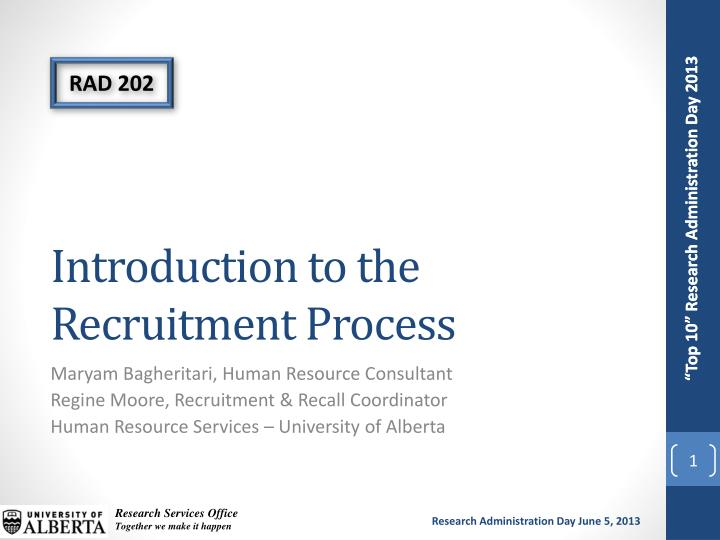 introduction to the recruitment process n.