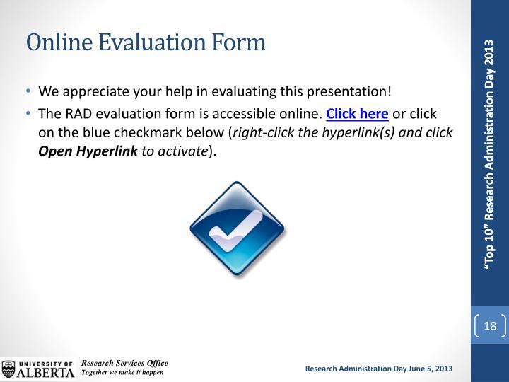 Online Evaluation Form