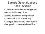 sample generalizations social studies