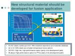 new structural material should be developed for fusion application