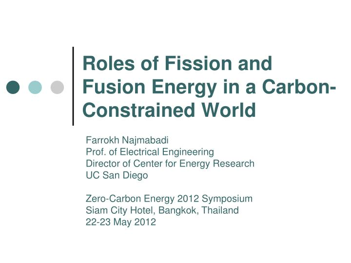 roles of fission and fusion energy in a carbon constrained world n.