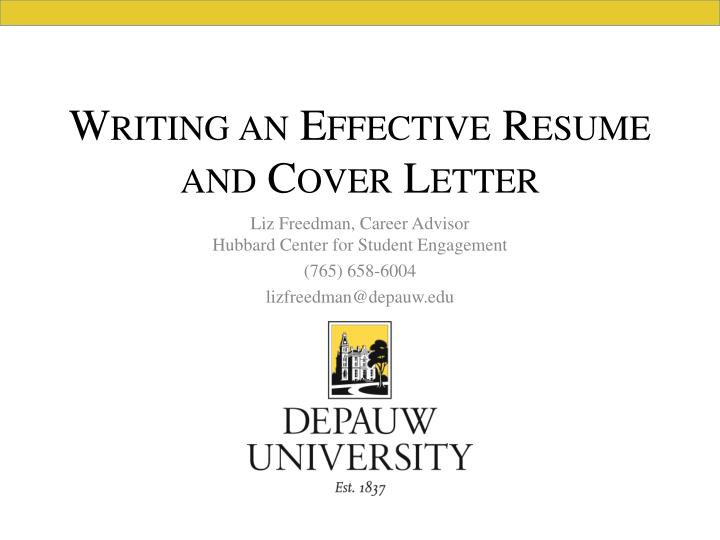 writing an effective resume and cover letter n.