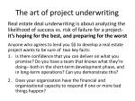 the art of project underwriting