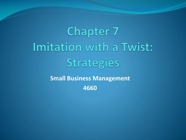 chapter 7 imitation with a twist strategies n.