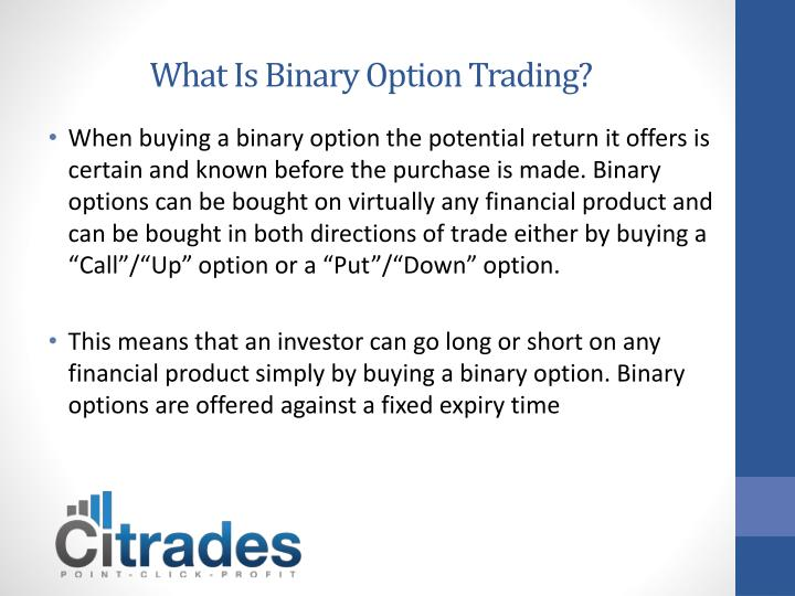 what is binary option trading n.