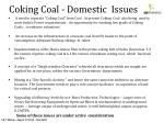 coking coal domestic issues