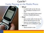 cycletel family planning on the mobile phone