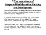 7 the importance of integrated collaborative planning and development