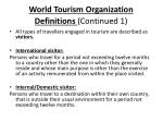world tourism organization definitions continued 1