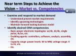 near term steps to achieve the vision market vs competencies