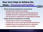 near term steps to achieve the vision personnel and facilities