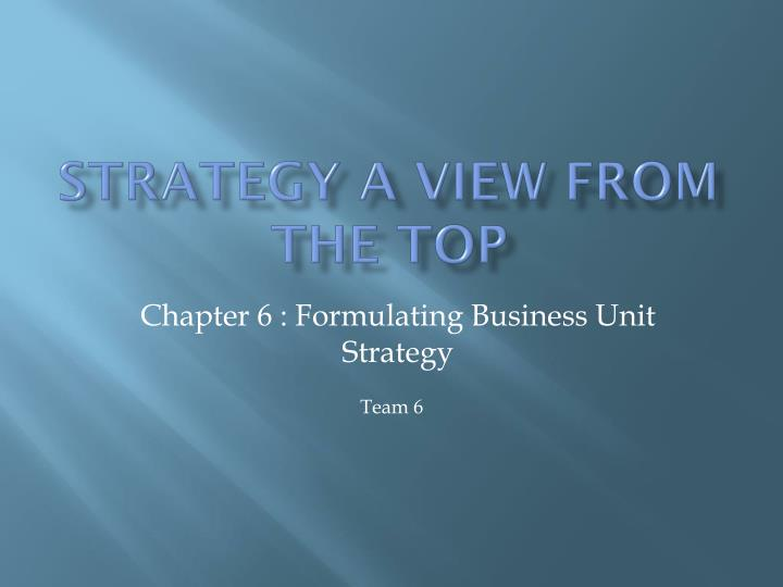 strategy a view from the top n.