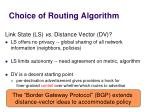 choice of routing algorithm