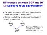 differences between bgp and dv 3 selective route advertisement