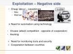 exploitation negative side