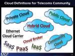 cloud definitions for telecoms community