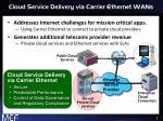 cloud service delivery via carrier ethernet wans