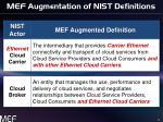 mef augmentation of nist definitions
