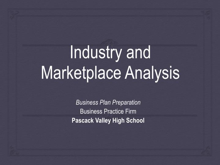 industry and marketplace analysis n.