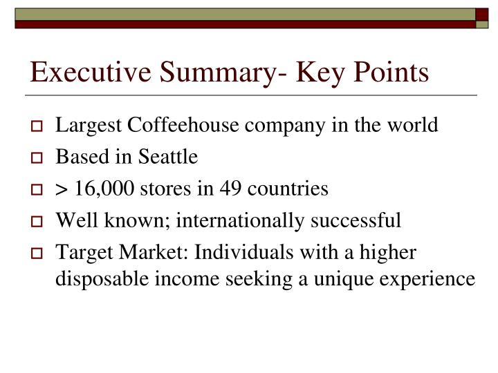 starbucks executive summary View notes - starbucks case study from mgmt 3010 at tulane executive summary howard shultzs leadership has caused starbucks to become the most successful coffee company in the world.