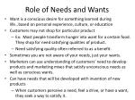 role of needs and wants