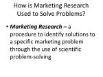 how is marketing research used to solve problems