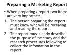 preparing a marketing report