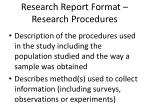 research report format research procedures